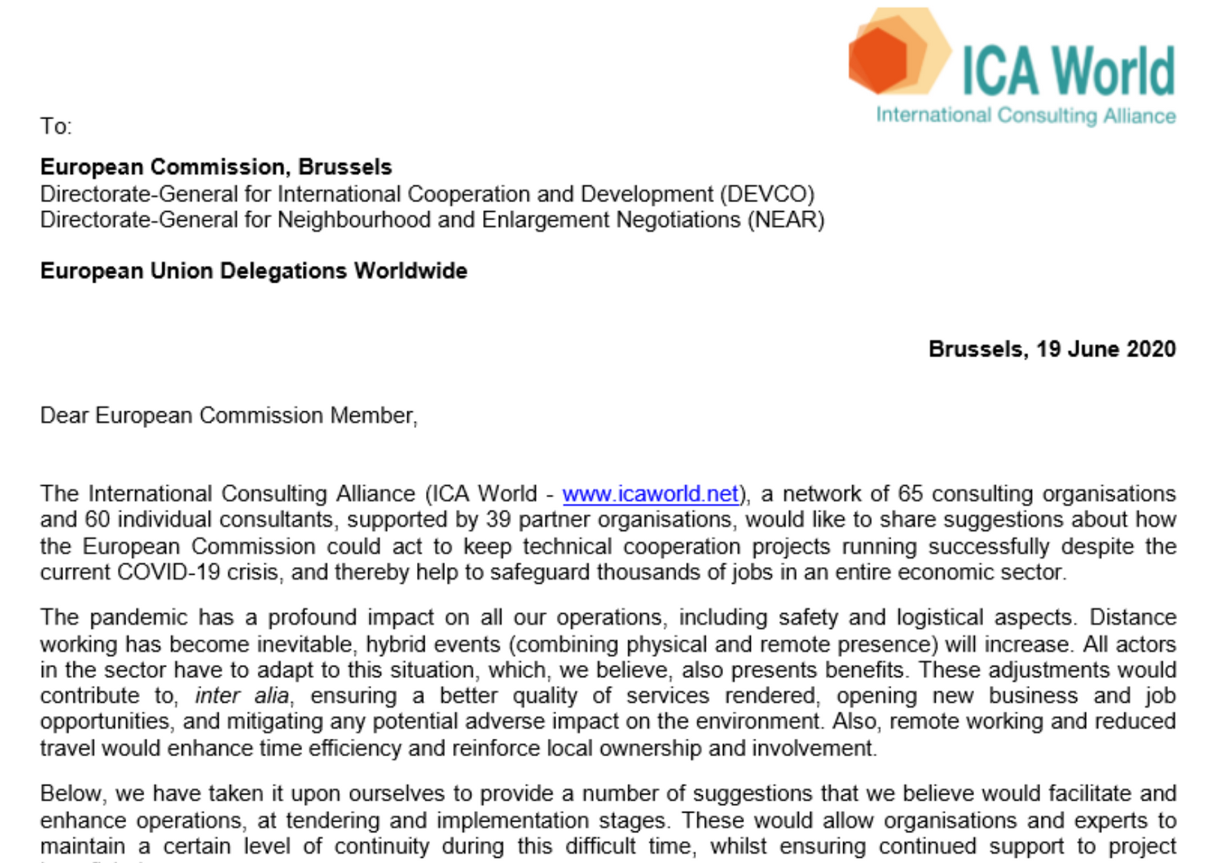 ICA World Letter to the European Commission and European Union Delegations in relation to the COVID-19 Crisis